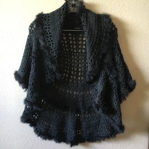 Michelle Nicole rabbit fur trim knit shrug